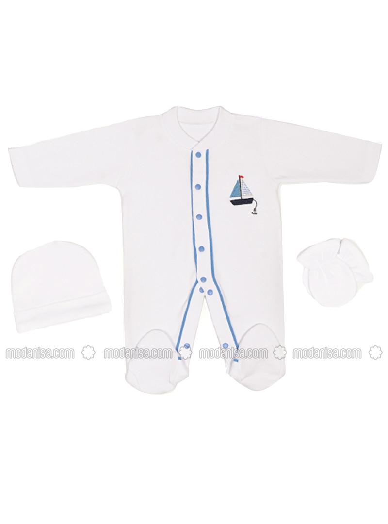 Multi - Crew neck - White - Blue - Baby Suit