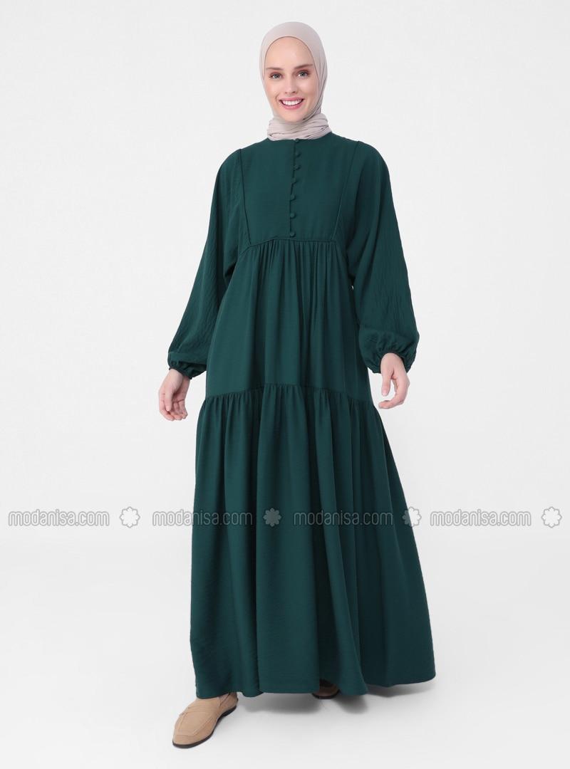 Emerald - Crew neck - Unlined - Modest Dress - Casual