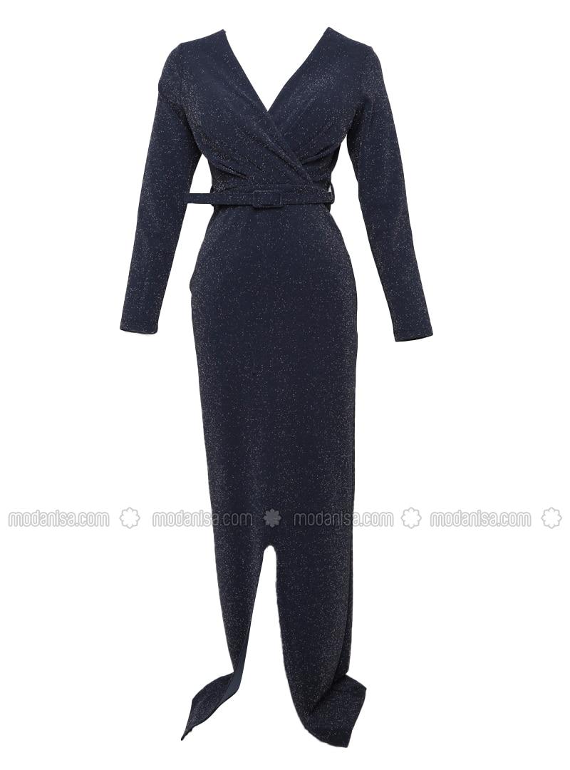 Navy Blue - Fully Lined - Crew neck - Modest Evening Dress