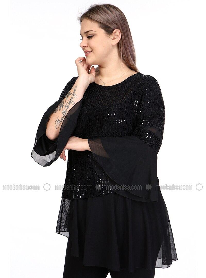 Black - Crew neck - Plus Size Evening Tunics