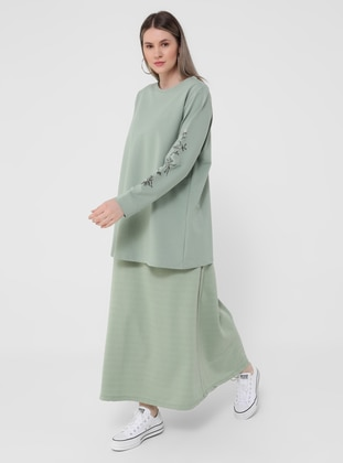 Sea-green - Unlined - Plus Size Skirt - Alia
