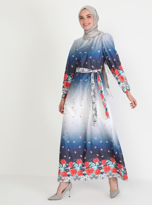 Blue - Floral - Crew neck - Unlined - Modest Dress
