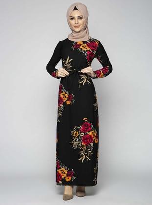 Maroon - Black - Checkered - Crew neck - Unlined - Modest Dress