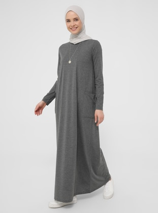 Anthracite - Crew neck - Unlined - Modest Dress