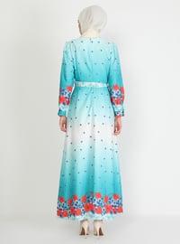 Mint - Floral - Crew neck - Unlined - Modest Dress