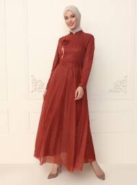 Terra Cotta - Fully Lined - Crew neck - Modest Evening Dress