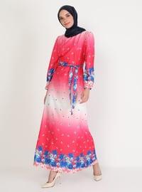 Fuchsia - Floral - Crew neck - Unlined - Modest Dress