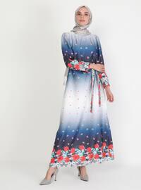 Blue - Floral - Crew neck - Unlined - Modest Dress
