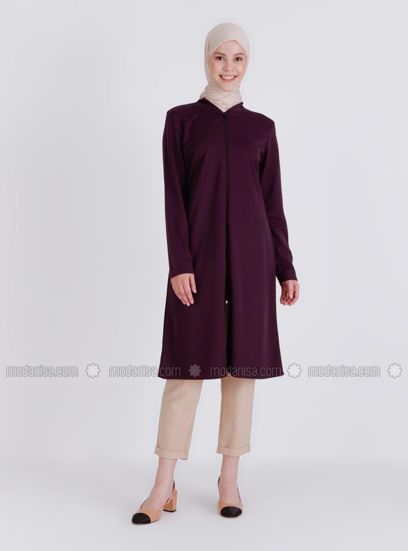Purple - Unlined - Crew neck - Topcoat