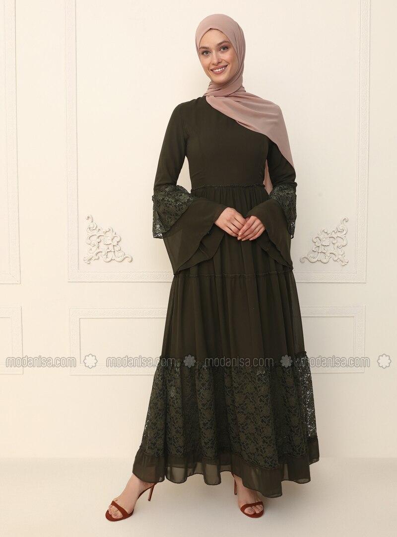 Khaki - Fully Lined - Crew neck - Modest Evening Dress