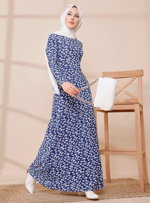 Saxe - Multi - Crew neck - Unlined - Modest Dress