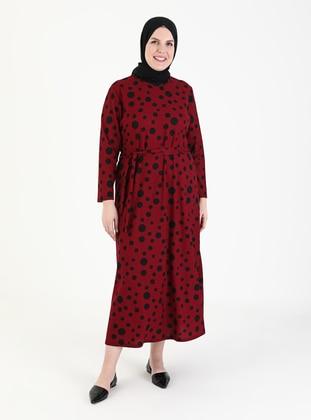 Maroon - Polka Dot - Unlined - Crew neck - Plus Size Dress