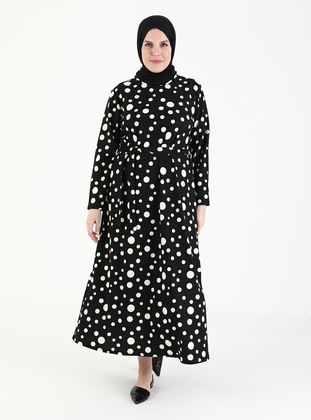 Black - Polka Dot - Unlined - Crew neck - Plus Size Dress