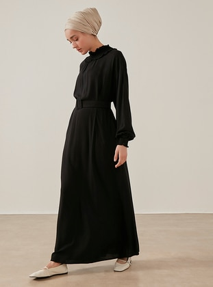 Black - Polo neck - Unlined - Modest Dress