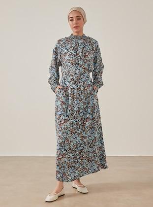 Blue - Floral - Polo neck - Unlined - Modest Dress