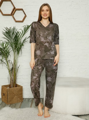 Khaki - V neck Collar - Multi - Pyjama Set