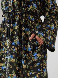 Black - Floral - Unlined - Topcoat