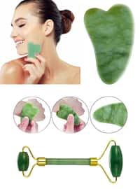 Gua Sha Face Care Stone Massage + Jade Roller Green Jade Stone - 6902550753094