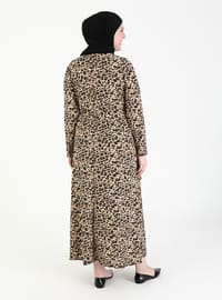 Camel - Multi - Leopard - Unlined - Crew neck - Plus Size Dress
