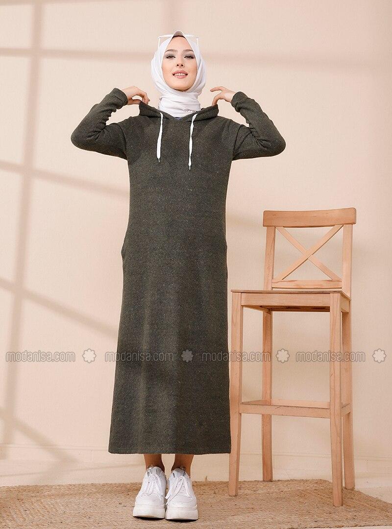 Khaki - Unlined - Modest Dress