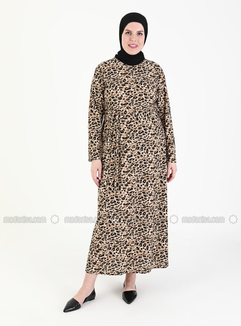 Camel - Multi - Leopard - Unlined - Crew neck - Plus Size Dress