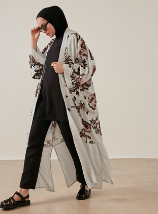 Unlined - Floral - Gray - Kimono - Phull