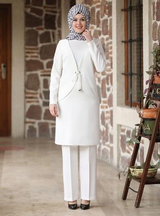 Ecru - White - Ecru - Unlined - Evening Suit