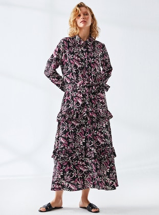 Fuchsia - Black - Floral - Point Collar - Fully Lined - Modest Dress