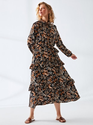Black - Mink - Floral - Point Collar - Fully Lined - Modest Dress