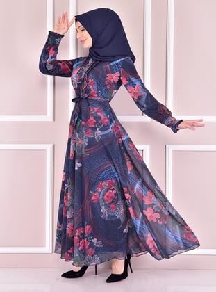 Navy Blue - Modest Evening Dress
