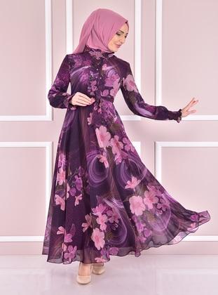 Purple - Modest Evening Dress