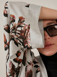 Unlined - Floral - Gray - Kimono
