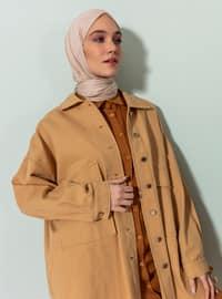 Beige - Camel - Unlined - Point Collar - Topcoat
