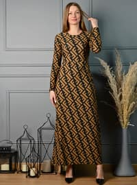 Multi - Multi - Crew neck - Unlined - Modest Dress