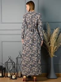 Multi - Multi - Crew neck - Unlined - Modest Dress