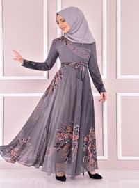 Gray - Modest Evening Dress