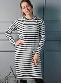Stripe - White - Black - Sweat-shirt