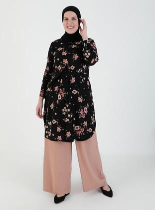 Black - Floral - Crew neck - Plus Size Tunic - GELİNCE