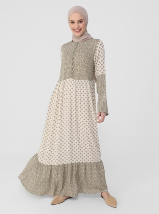 Olive Green - Floral - Crew neck - Unlined - Modest Dress