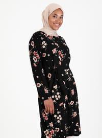 Black - Floral - Crew neck - Plus Size Tunic