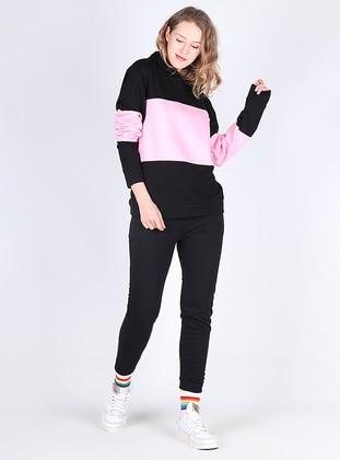 Pink - Black - Tracksuit Set