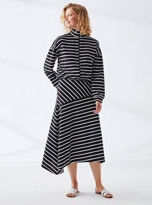Black - Stripe - Polo neck - Unlined - Modest Dress