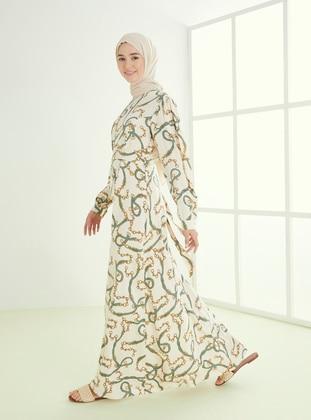 Beige - Multi - Crew neck - Unlined - Modest Dress