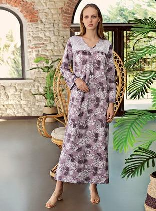 Purple - Multi - V neck Collar - Nightdress