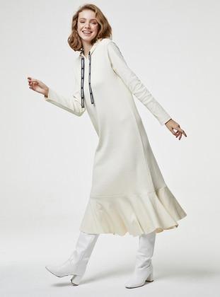Beige - Unlined - Modest Dress