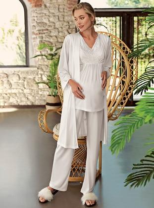 Ecru - V neck Collar - Pyjama Set