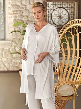 Ecru - V neck Collar - Pyjama Set - Artış Collection