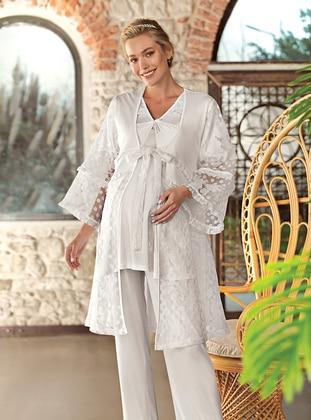 Ecru - V neck Collar - Maternity Pyjamas - Artış Collection
