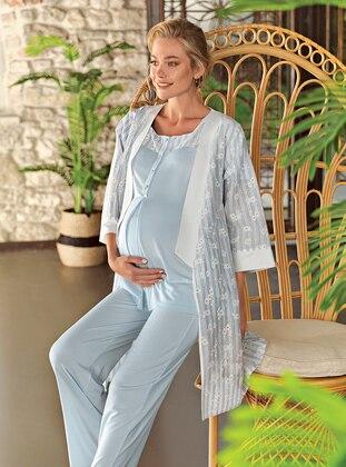 Blue - Crew neck - Pyjama Set - Artış Collection