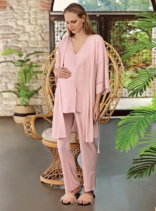 Powder - V neck Collar - Pyjama Set - Artış Collection